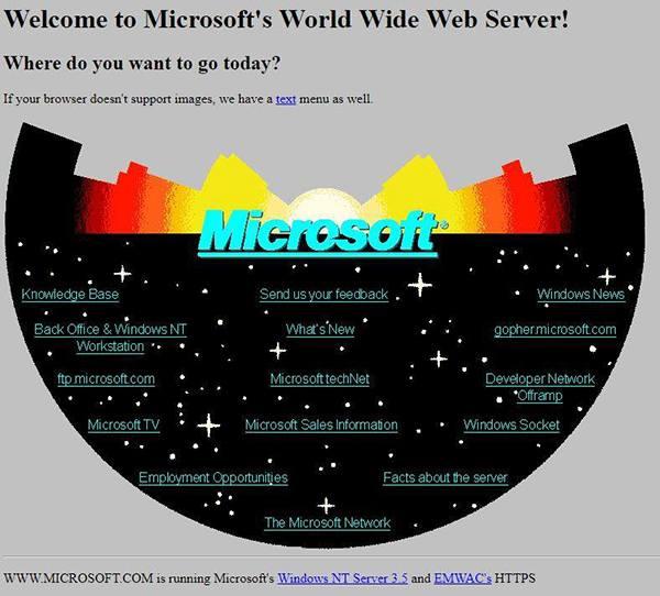 Diseño de la web de Microsoft en el año 1994