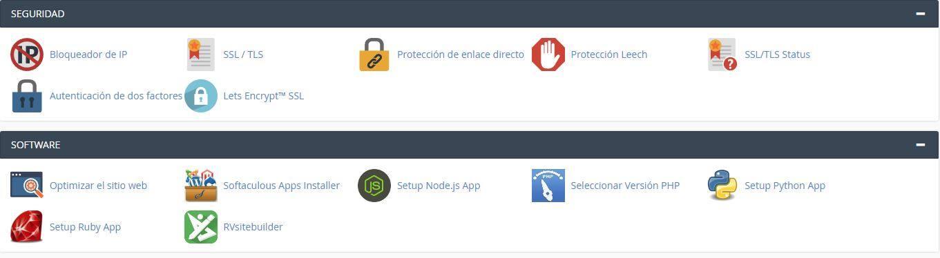 Panel de control de un hosting para gestionar una página web